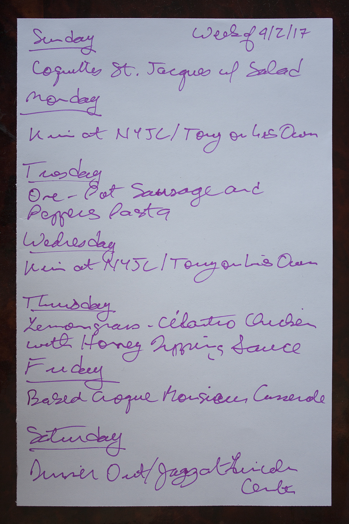 Menu for the week of april 2 2017 two at the table for Southold fish market menu