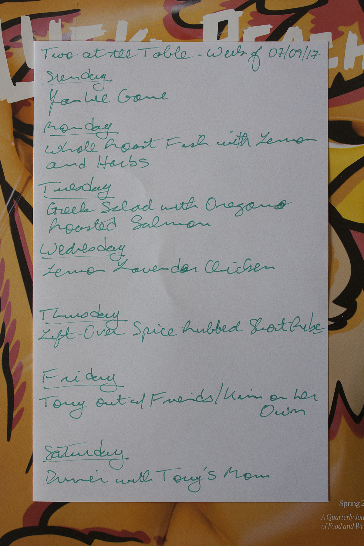 Menu For The Week Of July Two At The Table - Table 9 menu