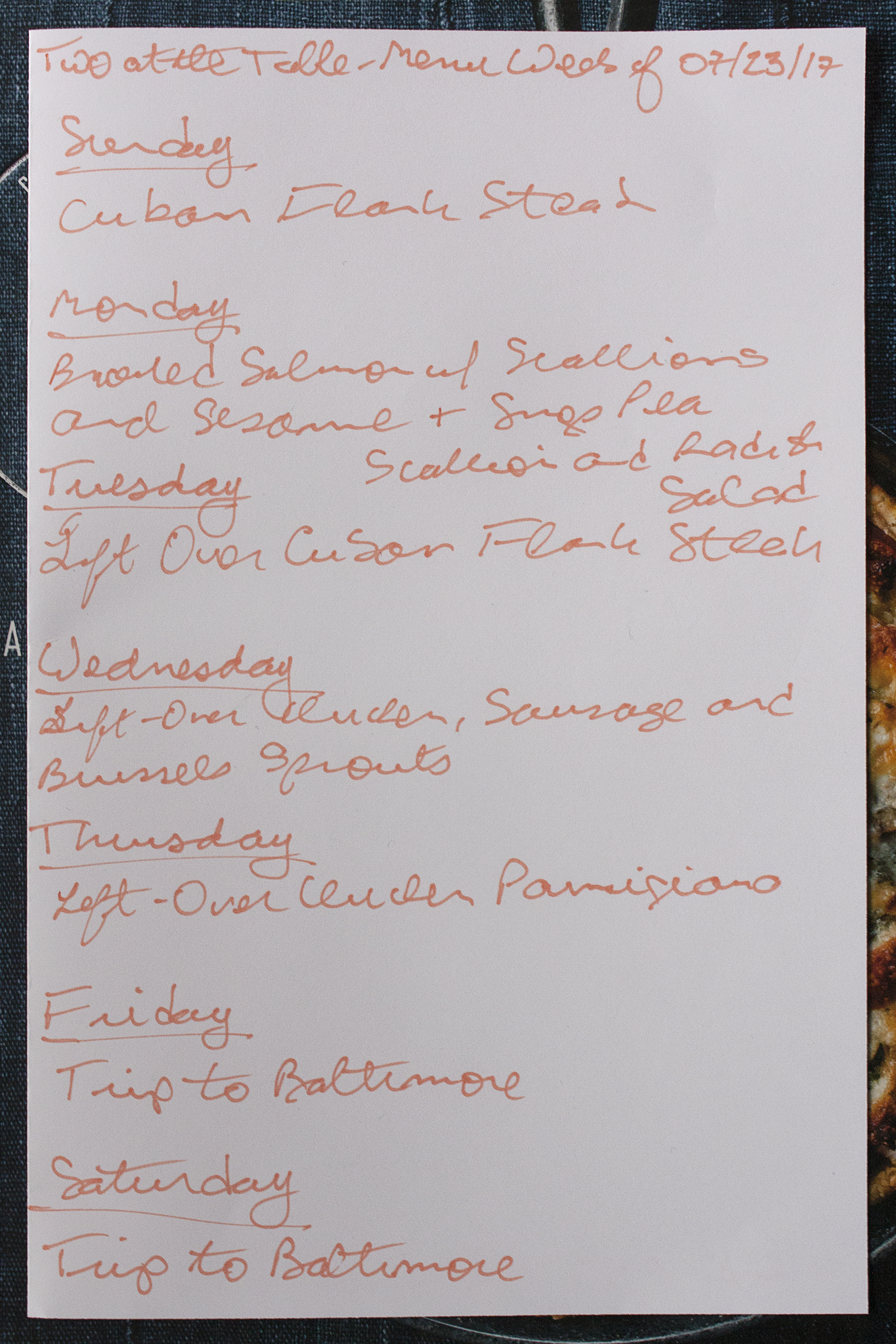 Menu For The Week Of July Two At The Table - Table 23 menu